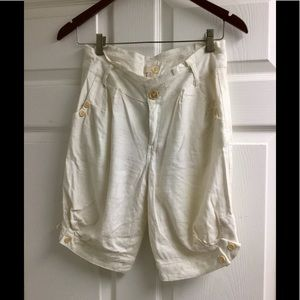 Ya Los Angeles cream white Linen shorts size S